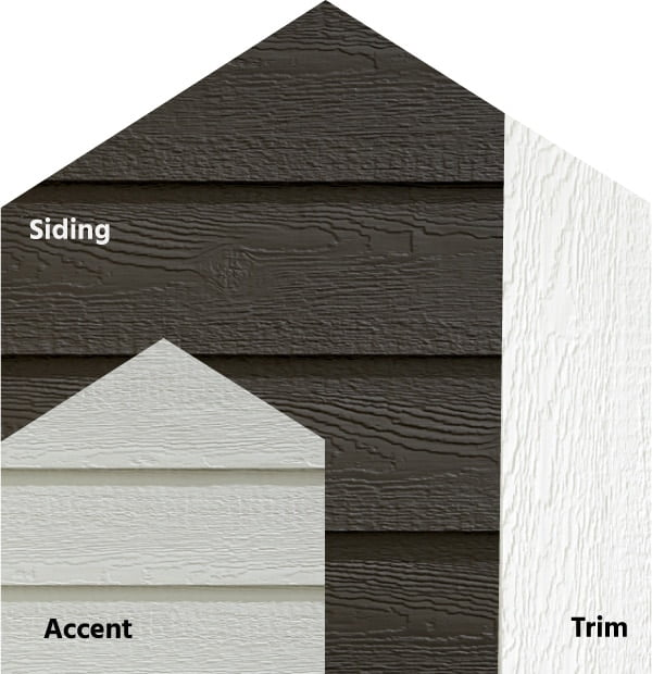 Diamond Kote® RigidStack™ Lap Siding and Trim - Blend Of Bold - Coffee Siding, Light Gray Accent & White Trim