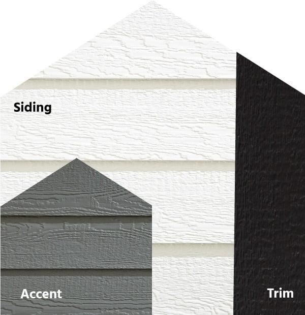 Diamond Kote® RigidStack™ Lap Siding and Trim - Clean Slate - White Siding, Smoky Ash Accent & Onyx Trim