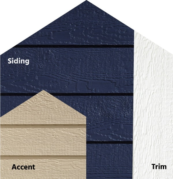 Diamond Kote® RigidStack™ Lap Siding and Trim - Day To Night - Midnight Siding, Sand Accent & White Trim