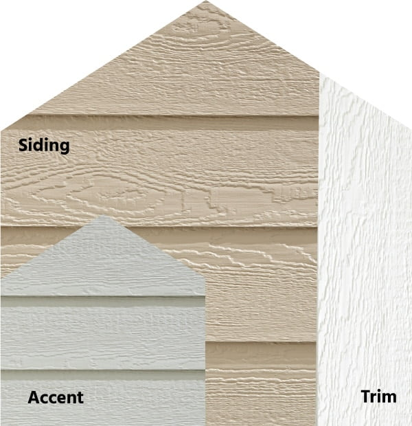 Diamond Kote® RigidStack™ Lap Siding and Trim - Gentle Shadows - Oyster Shell Siding, Light Gray Accent & White Trim