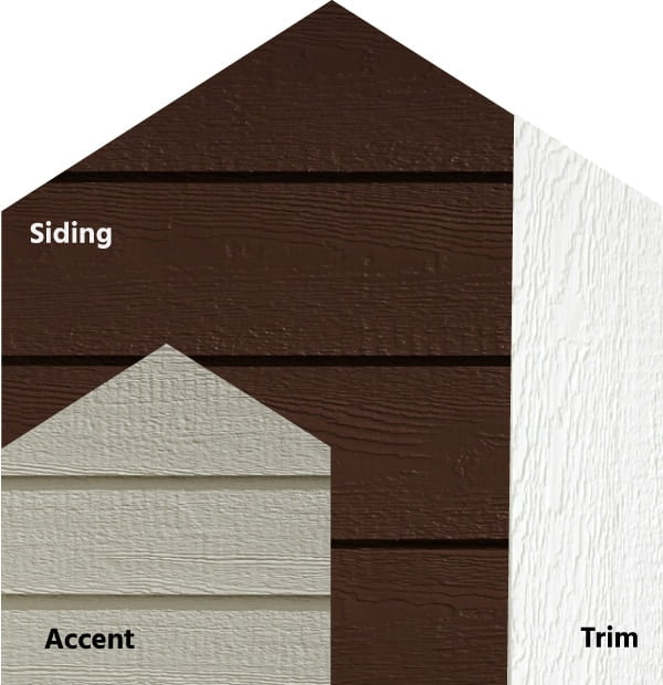 Diamond Kote® RigidStack™ Lap Siding and Trim - Grounded - Clove Siding, Clay Accent & White Trim