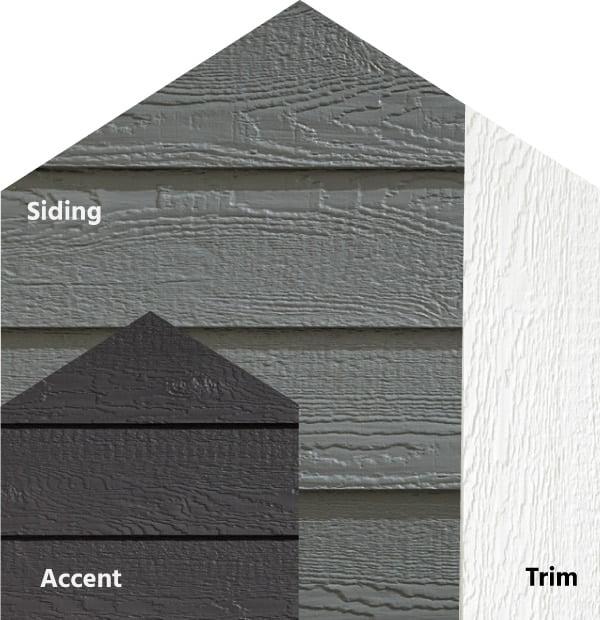 Diamond Kote® RigidStack™ Lap Siding and Trim - Impact - Smoky Ash Siding, Graphite Accent & White Trim