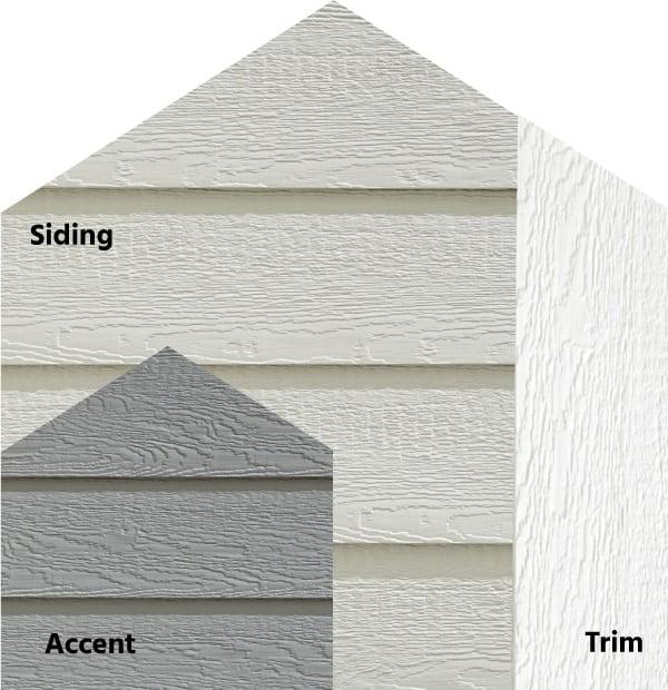 Diamond Kote® RigidStack™ Lap Siding and Trim - Monochromagic - Light Gray Siding, Pelican Accent & White Trim