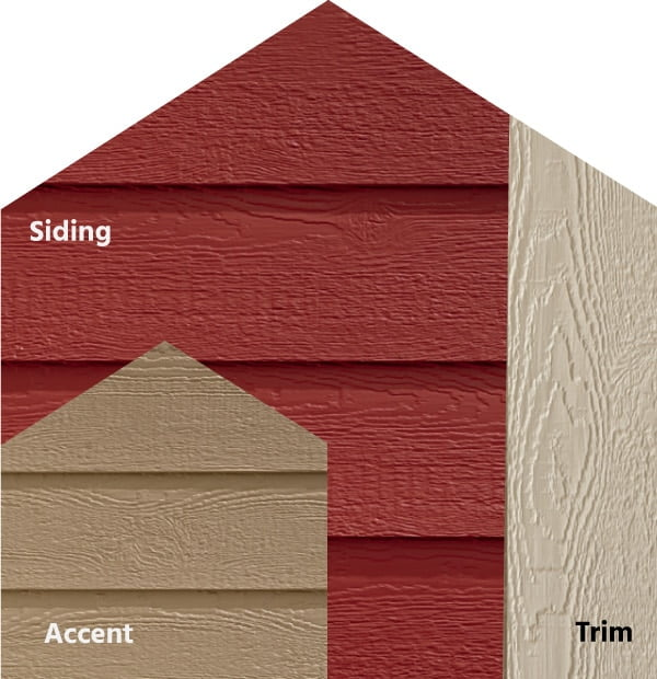 Diamond Kote® RigidStack™ Lap Siding and Trim - Red My Mind - Cinnabar Siding, French Gray Accent & Oyster Shell Trim