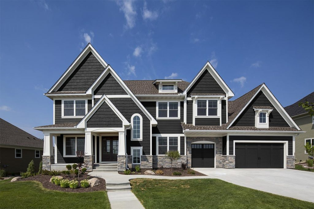 Diamond Kote® - Gallery - Graphite Horizontal Siding and Staggered Shake & White Trim