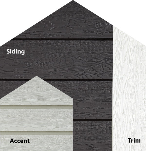 Diamond Kote® RigidStack™ Lap Siding and Trim - Seize The Gray - Graphite Siding, Light Gray Accent & White Trim