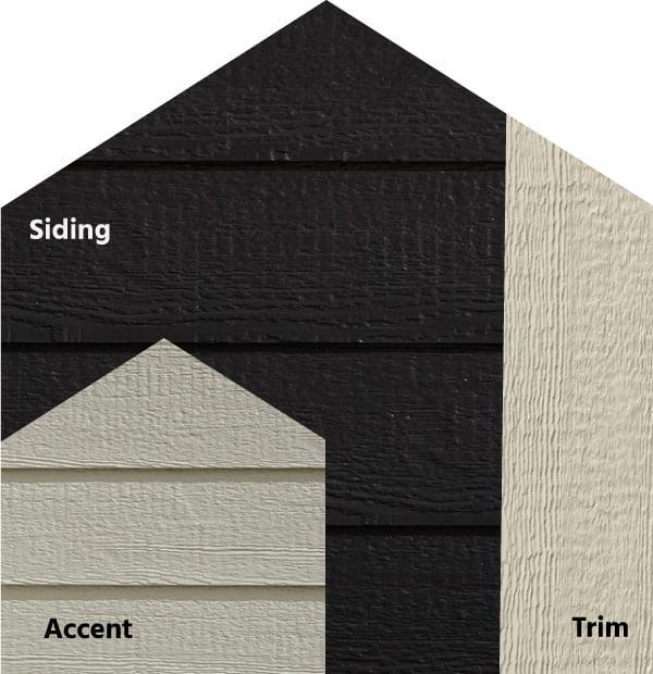 Diamond Kote® RigidStack™ Lap Siding and Trim - Show Stopper - Onyx Siding, Clay Accent & Beige Trim