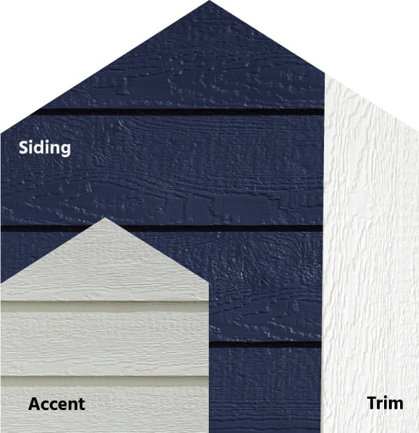 Diamond Kote® RigidStack™ Lap Siding and Trim - Starlit - Midnight Siding, Light Gray Accent & White Trim