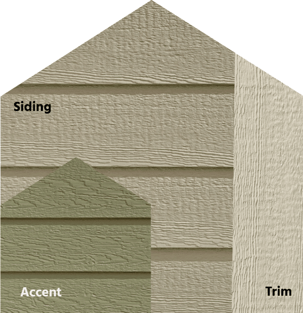 Diamond Kote® RigidStack™ Lap Siding and Trim - Halls of Ivy - Pewter Green Siding, Olive Accent & Beige Trim